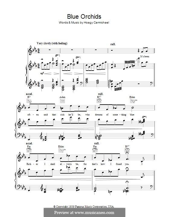 Blue Orchids: Para vocais e piano (ou Guitarra) by Hoagy Carmichael