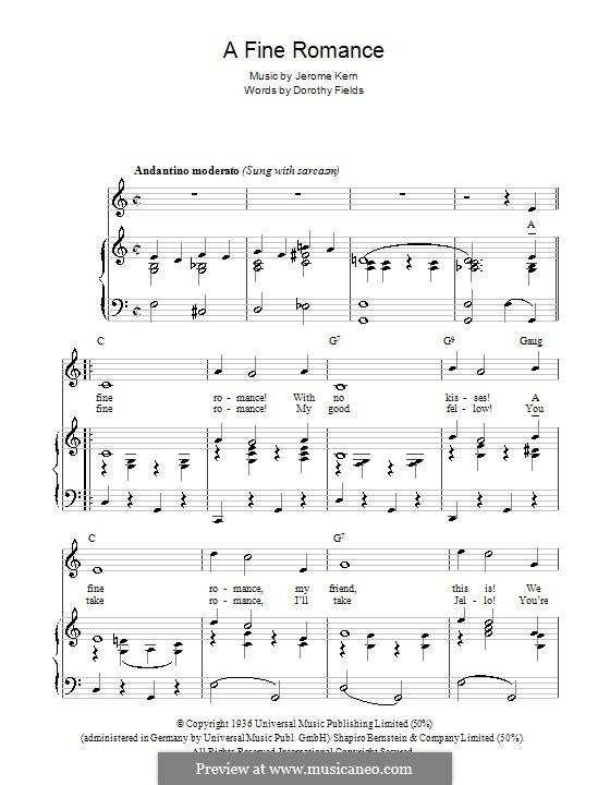 A Fine Romance: Para vocais e piano (ou Guitarra) by Jerome Kern