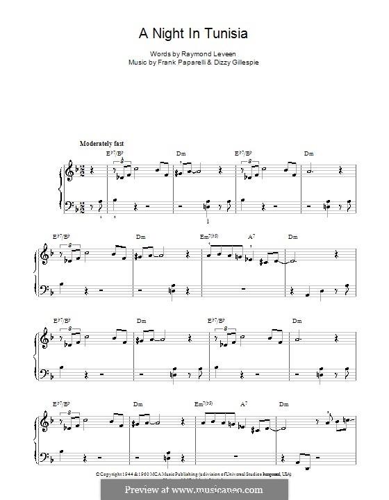 A Night in Tunisia: Facil para o piano by Dizzy Gillespie, Frank Paparelli