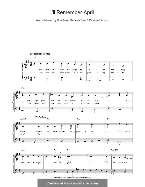 I'll Remember April (Woody Herman): Facil para o piano by Don Raye, Gene de Paul, Patricia Johnson
