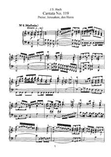 Preise, Jerusalem, den Herrn, BWV 119: Partitura piano-vocal by Johann Sebastian Bach