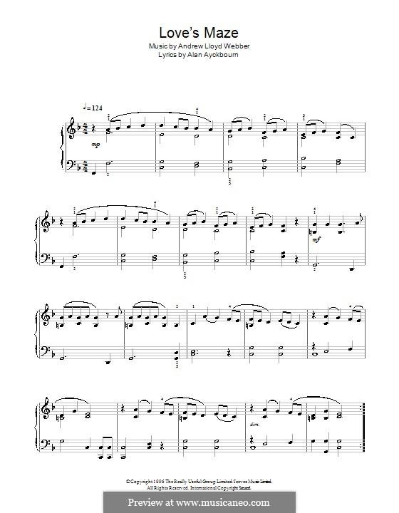 Love's Maze (from By Jeeves): Facil para o piano by Andrew Lloyd Webber