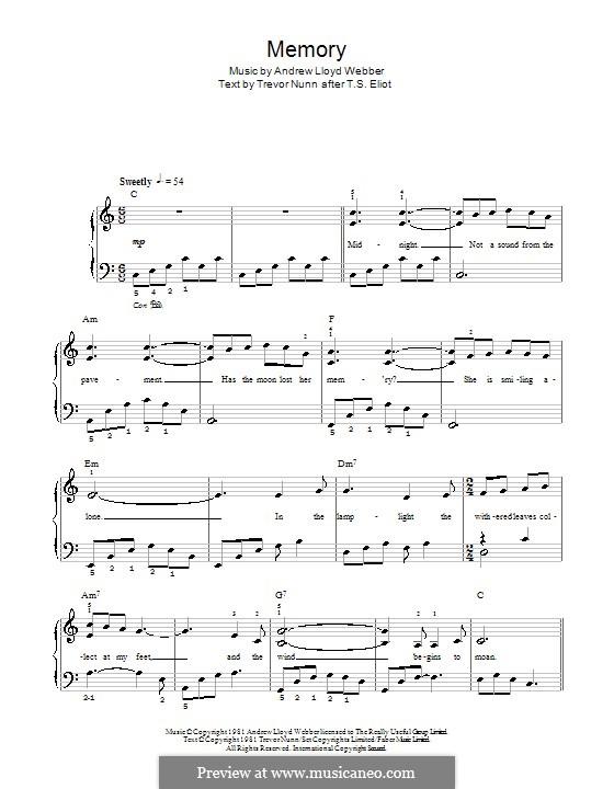 Memory (from Cats): facil para o piano (com letras) by Andrew Lloyd Webber