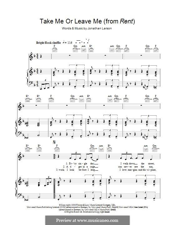 Take Me or Leave Me: Para vocais e piano (ou Guitarra) by Jonathan Larson