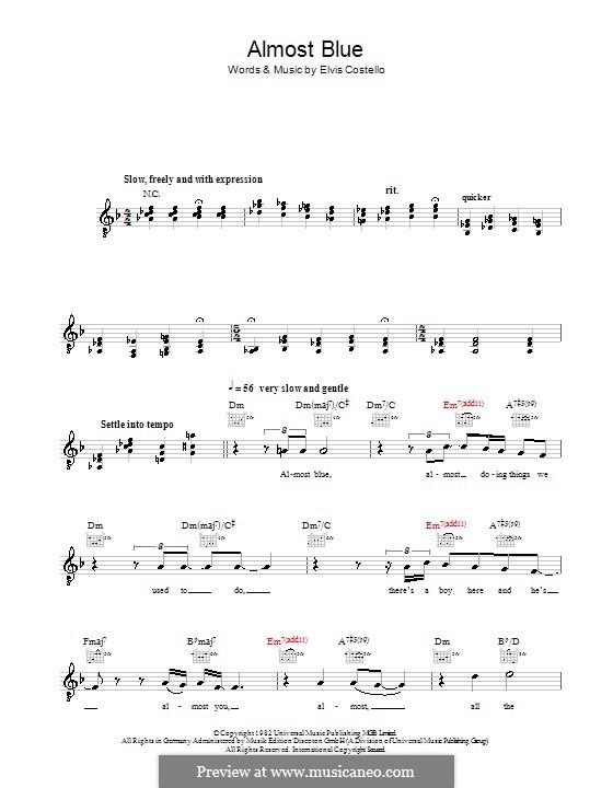 Almost Blue (Diana Krall): melodía,letras e acordes by Elvis Costello