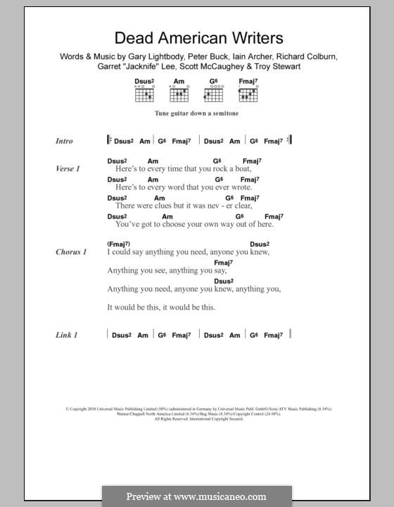 Dead American Writers (Tired Pony): Letras e Acordes by Garret Lee, Gary Lightbody, Iain Archer, Peter Buck, Richard Colburn, Scott McCaughey, Troy Stewart