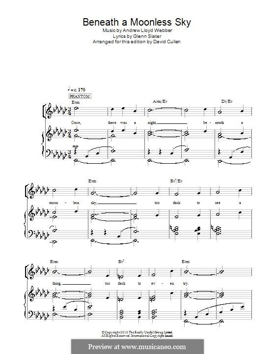 Beneath a Moonless Sky: Para vocais e piano (ou Guitarra) by Andrew Lloyd Webber