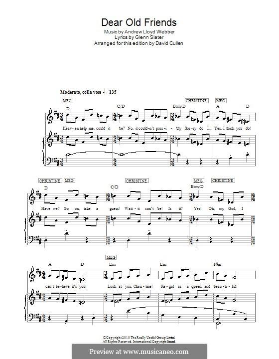 Dear Old Friends: Para vocais e piano (ou Guitarra) by Andrew Lloyd Webber