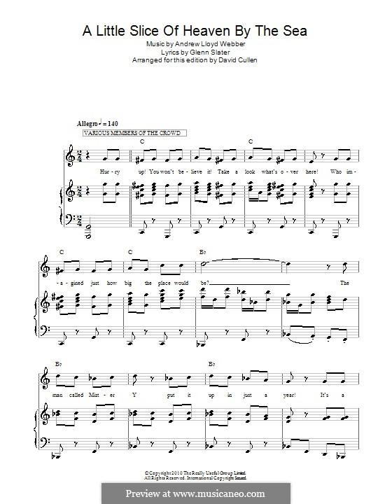 A Little Slice of Heaven By the Sea: Para vocais e piano (ou Guitarra) by Andrew Lloyd Webber