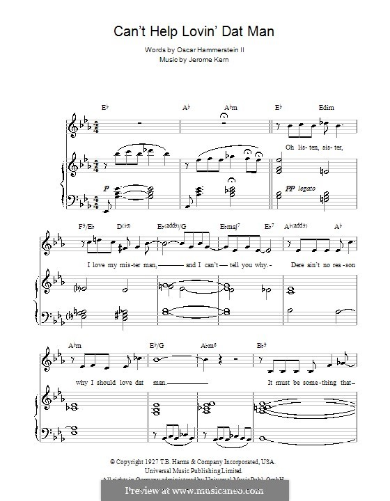 Can't Help Lovin' Dat Man (from Show Boat): Para vocais e piano (ou Guitarra) by Jerome Kern