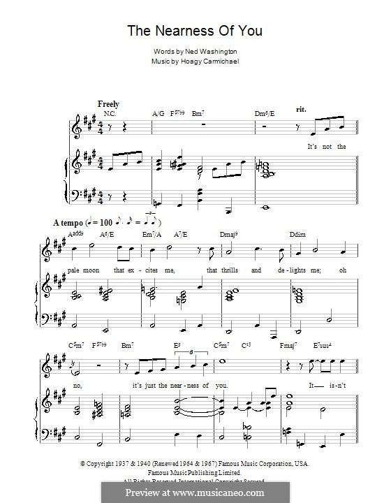 The Nearness of You: Para vocais e piano (ou Guitarra) by Hoagy Carmichael