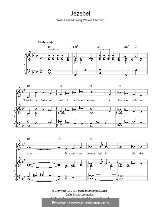 Jezebel: Para vocais e piano (ou Guitarra) by Wayne Shanklin