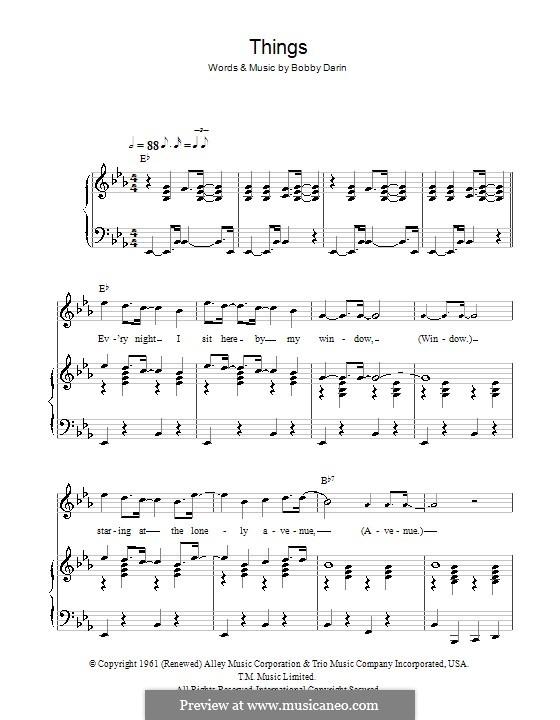 Things: Para vocais e piano (ou Guitarra) by Bobby Darin