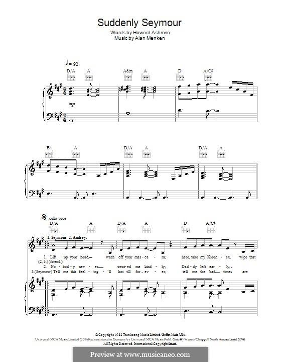 Suddenly Seymour (from The Little Shop of Horrors): Para vocais e piano (ou Guitarra) by Alan Menken