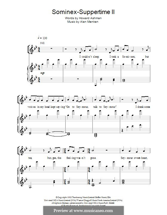 Sominex/Suppertime II: Para vocais e piano (ou Guitarra) by Alan Menken