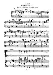 Aus der Tiefen rufe ich, Herr, zu dir, BWV 131: arranjos para vozes e piano by Johann Sebastian Bach