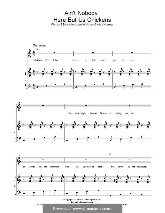 Ain't Nobody Here But Us Chickens (Louis Jordan): Para vocais e piano (ou Guitarra) by Alex Kramer, Joan Whitney