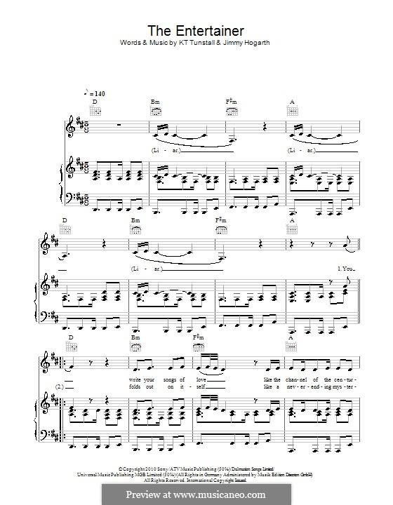 The Entertainer: Para vocais e piano (ou Guitarra) by Jimmy Hogarth, KT Tunstall