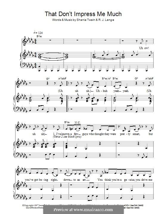That Don't Impress Me Much: Para vocais e piano by Robert John Lange, Shania Twain