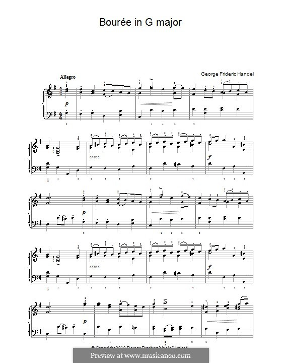 Bourrée in G Major: Para Piano by Georg Friedrich Händel