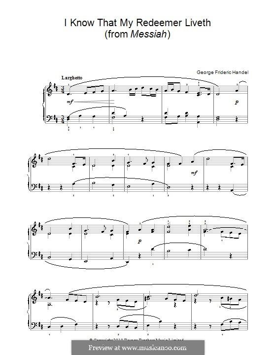 No.45 I Know That My Redeemer Liveth: versão facil para piano by Georg Friedrich Händel