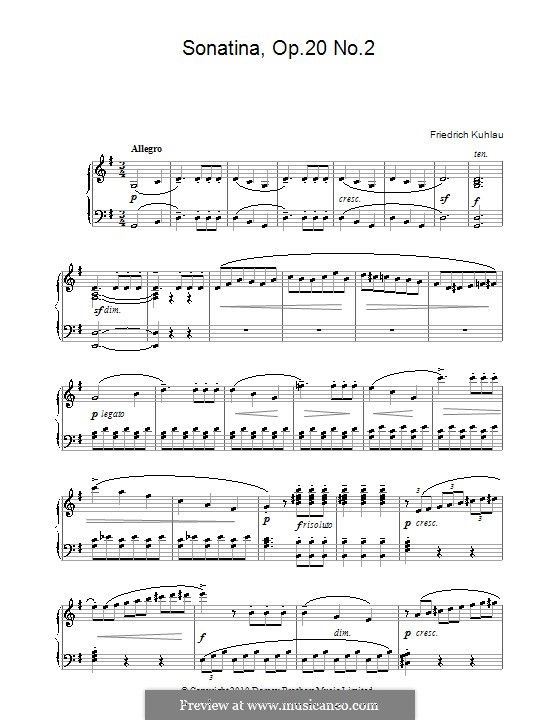 Three Sonatinas for Piano, Op.20: Sonatina No.2 by Friedrich Kuhlau