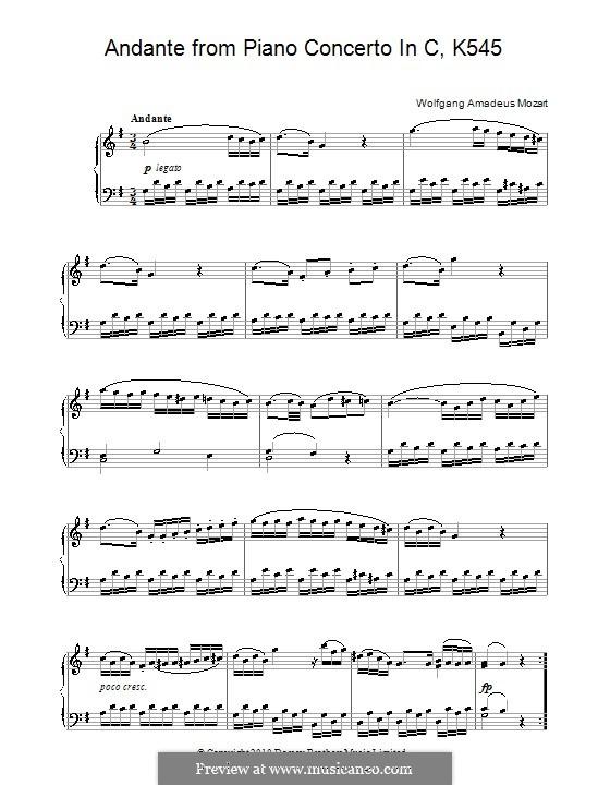 Sonata for Piano No.16 in C Major, K.545: movimento II by Wolfgang Amadeus Mozart