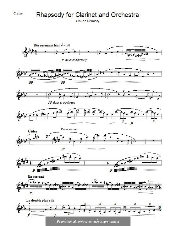 Rhapsody No.1 in G Flat Major, L.116: parte Solo by Claude Debussy