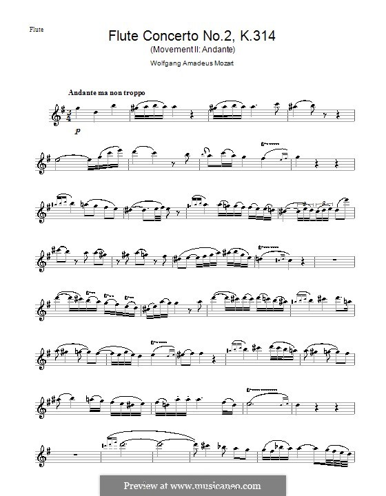Concerto for Flute and Orchestra No.2 in D Major, K.314: movimento II - parte solo by Wolfgang Amadeus Mozart