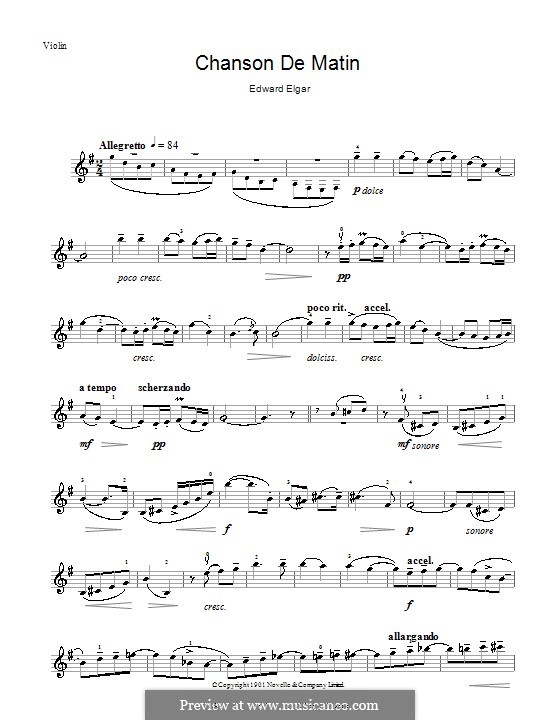 Two Pieces, Op.15: No.2 Chanson de matin, for violin by Edward Elgar