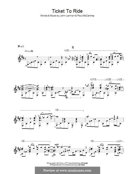 Ticket to Ride (The Beatles): Para guitarra (Classical) by John Lennon, Paul McCartney