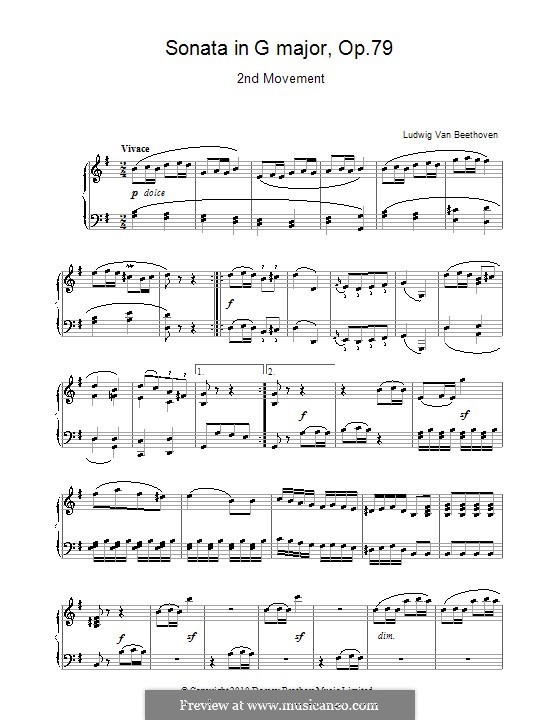 Sonata for Piano No.25, Op.79: movimento II by Ludwig van Beethoven
