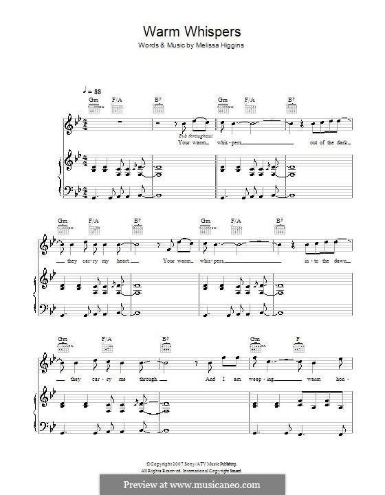 Warm Whispers (Missy Higgins): Para vocais e piano (ou Guitarra) by Melissa Higgins