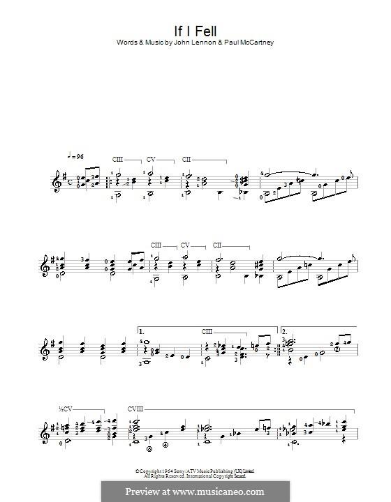 If I Fell (The Beatles): Para Guitarra by John Lennon, Paul McCartney