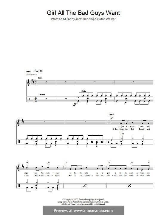 Girl All the Bad Guys Want (Bowling for Soup): para bateria by Butch Walker, Jaret Reddick