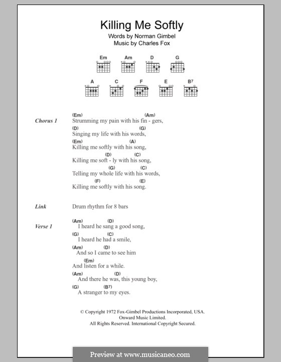 Killing Me Softly with His Song: Lyrics and chords (The Fugees) by Charles Fox