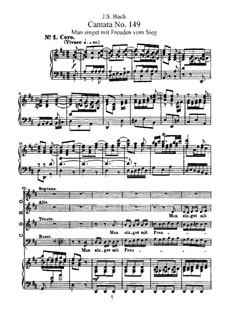 Man singet mit Freuden vom Sieg, BWV 149: Partitura piano-vocal by Johann Sebastian Bach