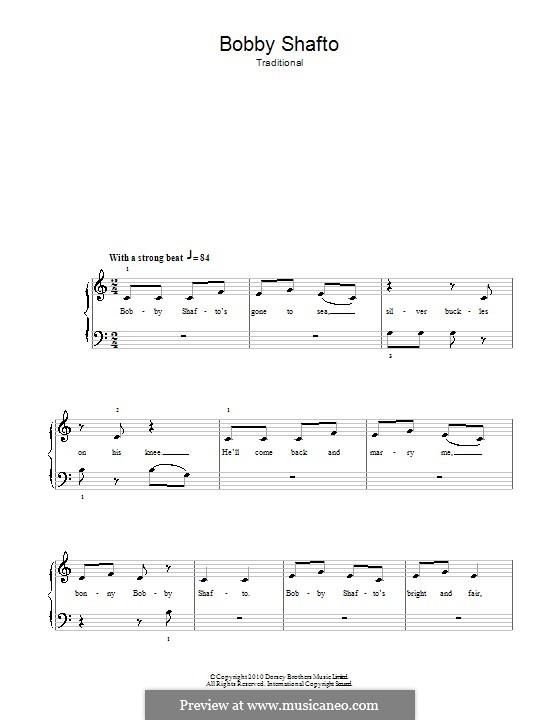 Bobby Shafto: Facil para o piano by folklore