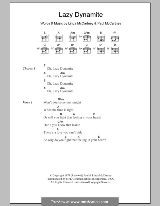 Lazy Dynamite (Wings): Letras e Acordes by Linda McCartney, Paul McCartney