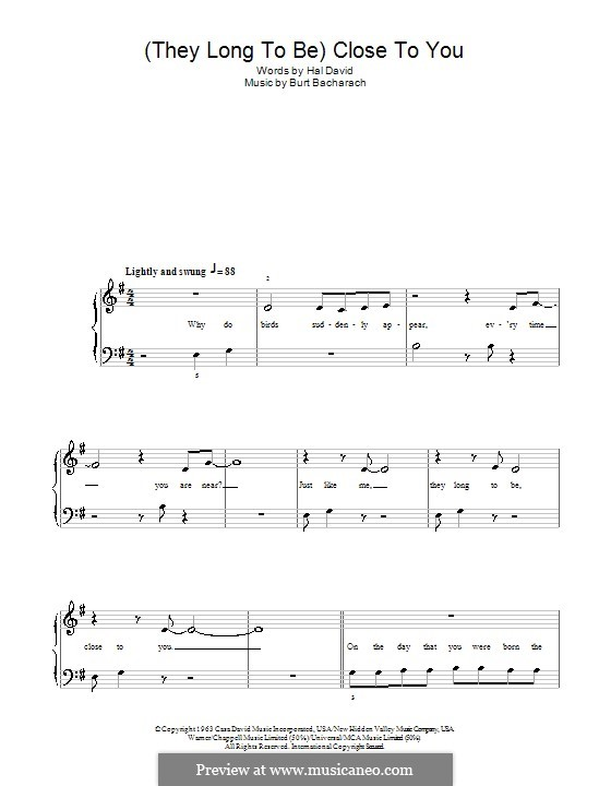 Close to You (They Long to be): facil para piano (Carpenters) by Burt Bacharach