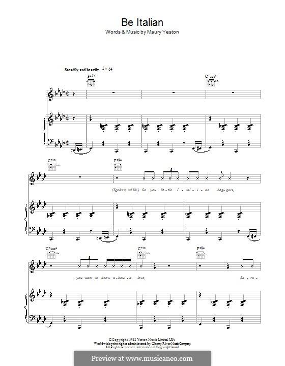 Be Italian: Para vocais e piano (ou Guitarra) by Maury Yeston