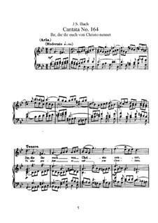 Ihr, die ihr euch von Christo nennet, BWV 164: Partitura piano-vocal by Johann Sebastian Bach