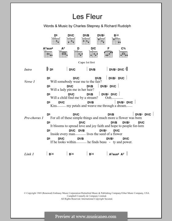 Les Fleur: Lyrics and chords (Minnie Riperton) by Charles Stepney, Richard Rudolph