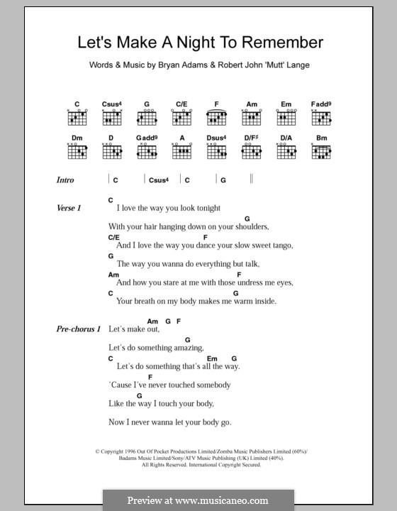 Let's Make a Night to Remember: Letras e Acordes by Robert John Lange