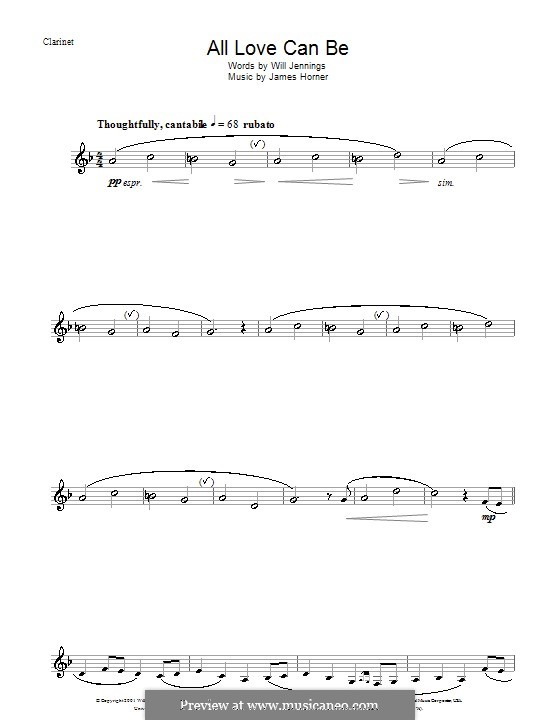 All Love Can Be (from A Beautiful Mind): para clarinete by James Horner