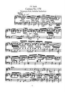 Vergnügte Ruh, beliebte Seelenlust, BWV 170: Partitura piano-vocal by Johann Sebastian Bach