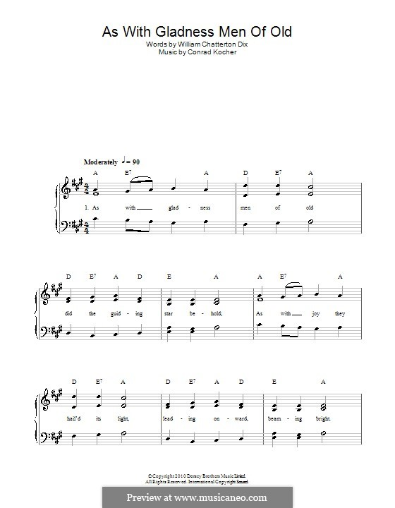 As with Gladness Men of Old: Para vocais e piano by Conrad Kocher