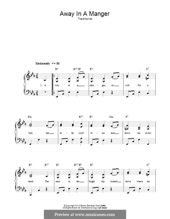 Away in a Manger: Para vocais e piano by William (James) Kirkpatrick