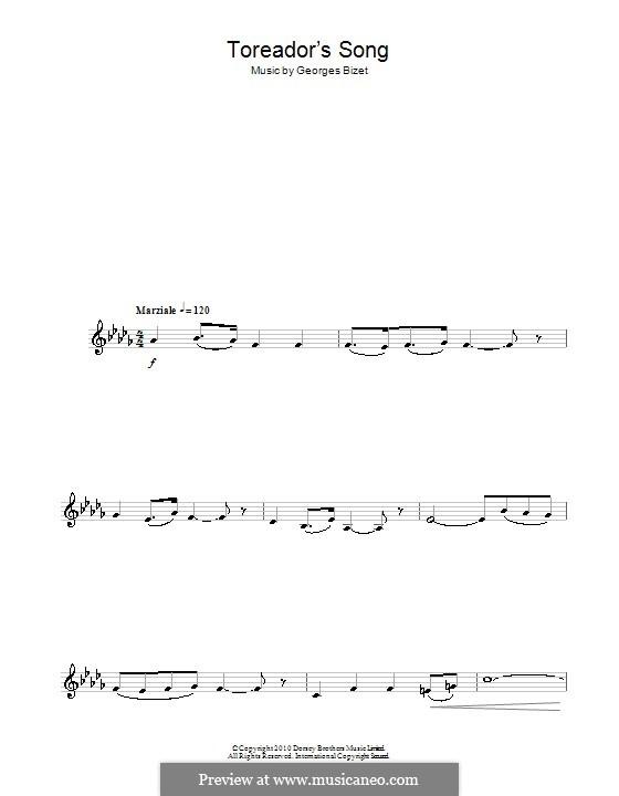 Toreador's Song: para saxofone by Georges Bizet