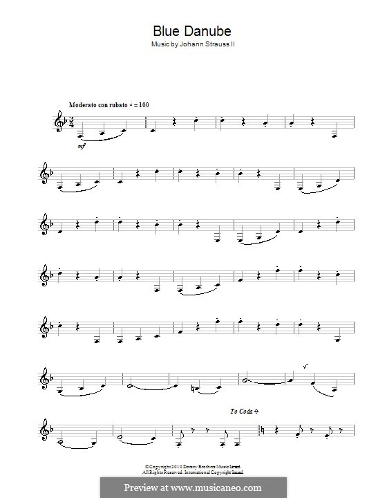 On the Beautiful Blue Danube, Op.314: para saxofone by Johann Strauss (Sohn)